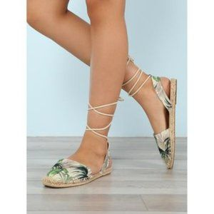 SODA Closed Toe Espadrille Palm Print Sandal